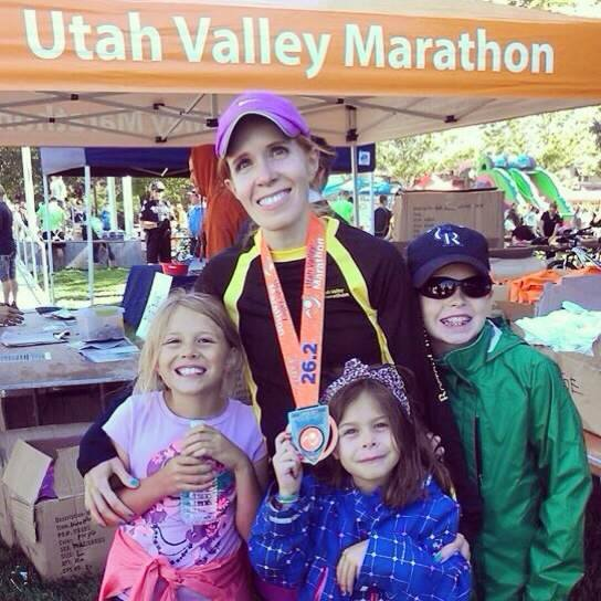 Utah Valley Marathon Finish Picture with my kids.