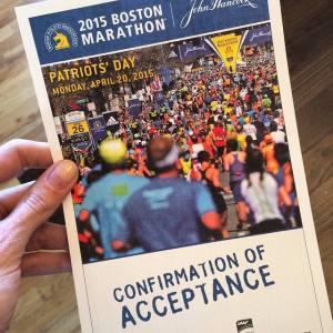 My confirmation of acceptance into the 2015 Boston Marathon.
