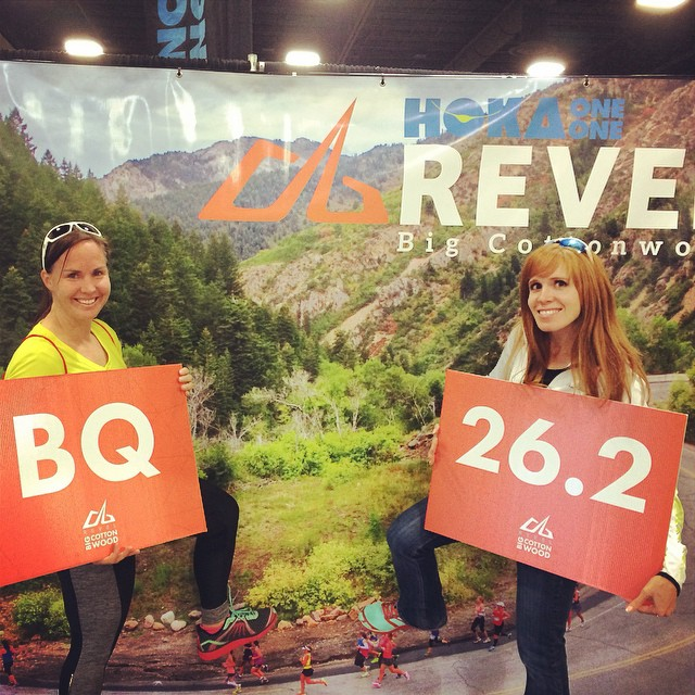 Natalie Brown and Krista Miner Sidwell at the 2014 Big Cottonwood Marathon Race Expo in Salt Lake City, Utah.