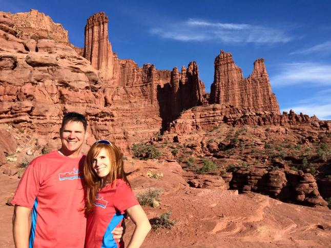 My husband and I sporting our race shirts at Fisher Towers after the 2015 Moab Canyonlands Half Marathon