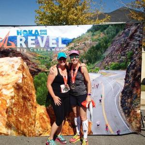 Natalie Brown and Krista Miner Sidwell at the 2014 Big Cottonwood Marathon finish line.