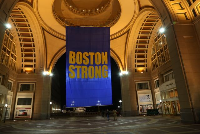 Near our hotel this huge Boston Strong flag flew.