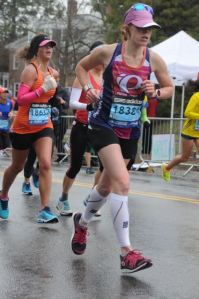 Krista Miner Sidwell at Heartbreak Hill at the 2015 Boston Marathon