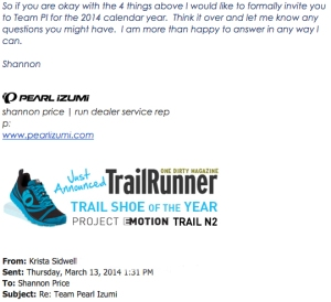 Krista Miner Sidwell's Acceptance letter for 2014 Team Pearl Izumi.