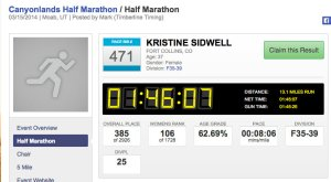 Krista Miner Sidwell Results for 2014 Canyonlands Half Marathon