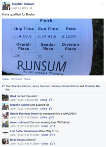 June 14, 2014 Facebook Post by Husband Right After I Qualified for Boston