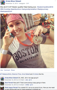 Natalie Brown sporting her BQ shirt after the 2014 Canyon City Marathon, in Azusa, CA.
