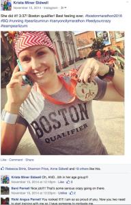 Natalie Brown sporting her BQ shirt after the 2014 Canyon City Marathon, in Azusa, CA.