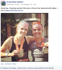 Natalie Brown and Krista Miner Sidwell after the 2014 Canyon City Marathon.