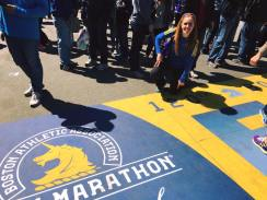 Posing at the Boston Marathon finish line a couple (?) days before the event!