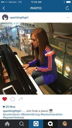 Playing the piano in the Kanas City airport during a layover on our way to Boston.