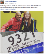 Meeting a racing icon, Olympian and and past winner of the Boston Marathon - Meb K.