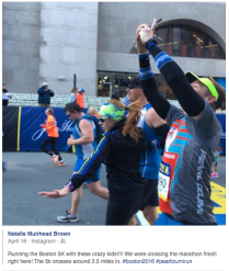 Being silly at the 2016 Boston 5k finish line with friends.