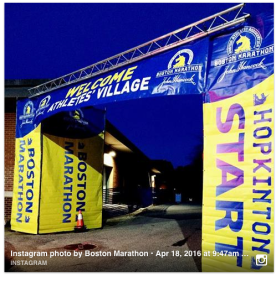 The Athletes' Village the morning of the 2016 Boston Marathon