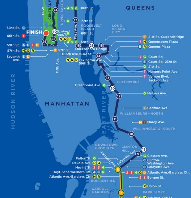 NYC Marathon Course Map
