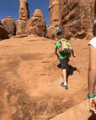 Hiking the Fiery Furnace in Arches NP--NOT a fan of the addition of arrows to guide you through.