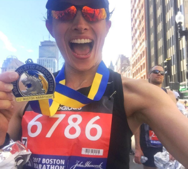 Annie Ballard at the 2017 Boston Marathon finish line!